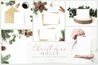 25 Holly Christmas mockups & stock photo bundle