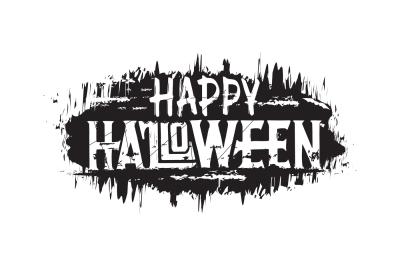 Happy halloween. Hand drawn grunge text, digital lettering.