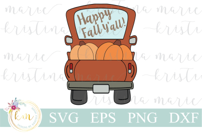 Happy Fall Y'all Truck SVG File