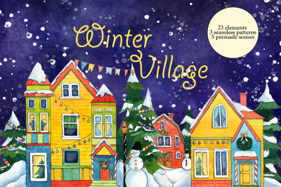 Winter Village Watercolor Set