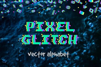 PIXEL GLITCH vector alphabet