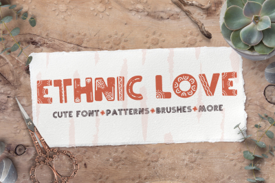 Ethnic love font BUNDLE+ 40 ELEMENTS