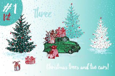Hand drawn sketch Christmas tree and holiday cars