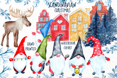 Watercolor Scandinavian Christmas Gnomes clipart