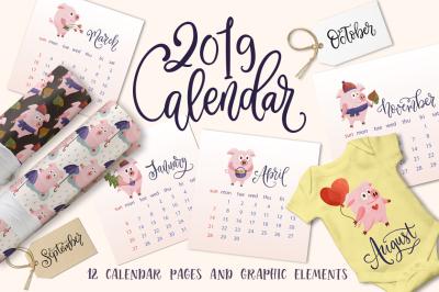 Happy 2019. Calendar & graphic set.