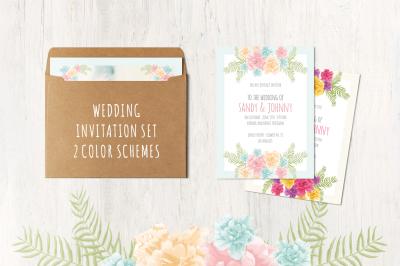 Floral Wedding Set . 13 cards