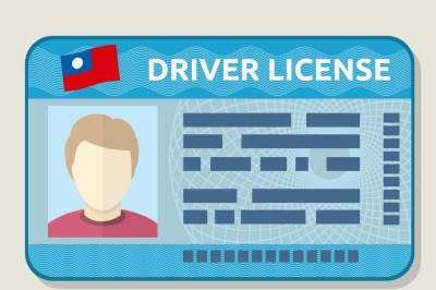 Vector car driving licence, identification card with photo, employee i