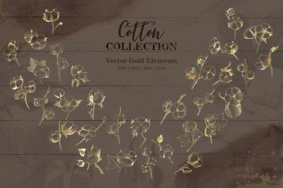 Cotton collection EPS, PNG, JPG, SVG set
