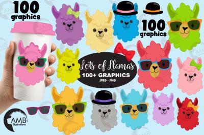 llama bundle, 100 llama cliparts AMB-2100