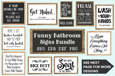 Bathroom Signs Bundle - SVG, EPS, DXF, PNG