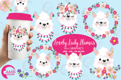 Lovely Lady llamas clipart AMB-2102
