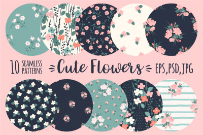 Cute flowers. 10 seamless patterns