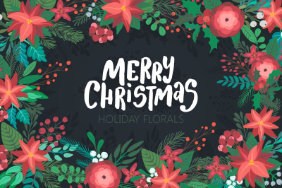 Christmas florals vector collection