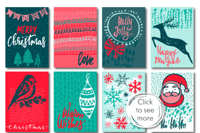 Christmas cards, seamless patterns