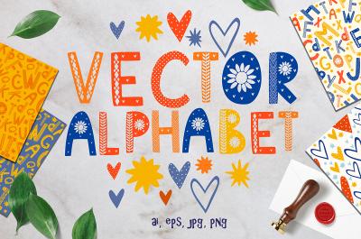 Color Scandinavian style. vector alphabet