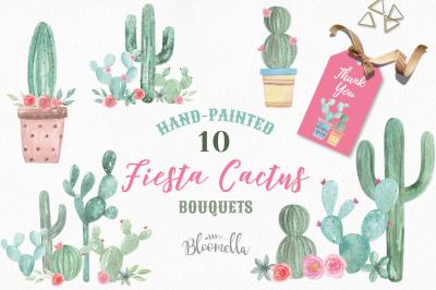 Cactus Watercolor Clipart Pots Floral Cacti Succulents Painted