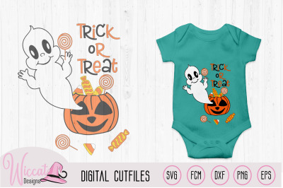 Ghost out of a pumpkin, baby Halloween svg, trick or treat file