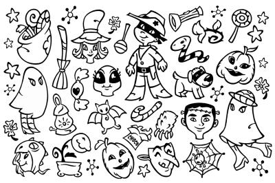 30 Halloween Doodle Clipart