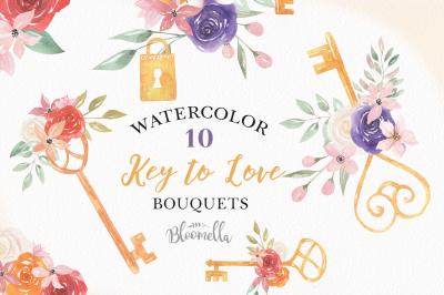 Watercolor Keys Locks Flowers Floral Bouquets Padlocks Clipart