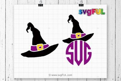 Witch Hat Monogram Svg, Witch Hat Svg, Halloween SVG, Silhouette
