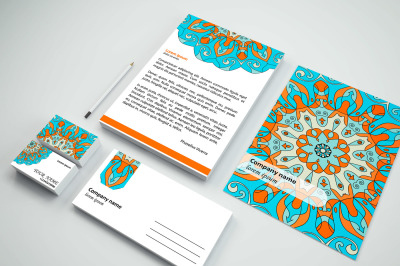 Mandala stationery templates set