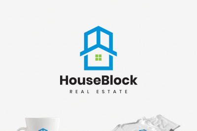 House in a Building Real Estate Logo