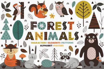 forest animals in Scandinavian style