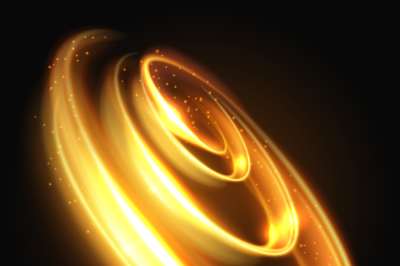Gold light effect, yellow lighted swirl abstract vector background