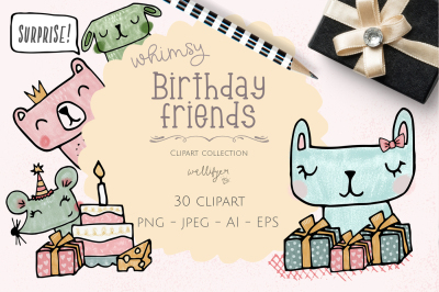 Whimiscal animals birthday clipart collection