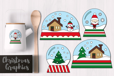 Christmas Snowglobes Simple Graphics