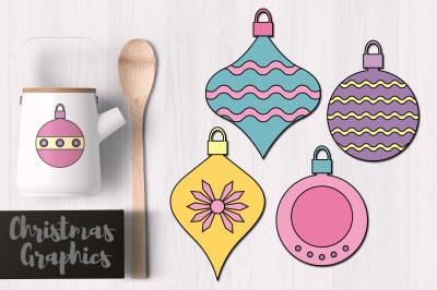 Christmas Hanging Ornaments Pastel