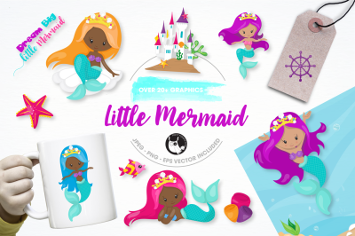 little mermaid  graphics and illustrations