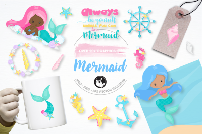 be a mermaid graphics and illustrations
