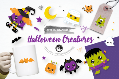 Halloween creatures graphics and illustrations