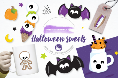 Halloween sweets graphics and illustrations