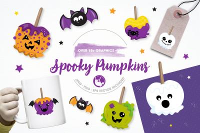 Spooky pumpkin graphics and illustrations