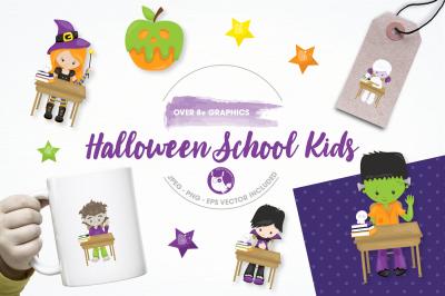 Halloween school kids graphics and illustrations