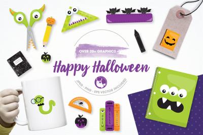 happy Halloween graphics and illustrations