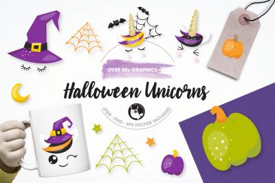 Halloween unicorn graphics and illustrations
