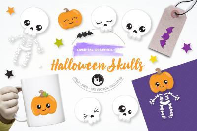 Halloween skulls graphics and illustrations