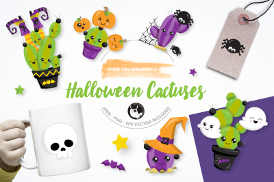 Halloween cactus graphics and illustrations