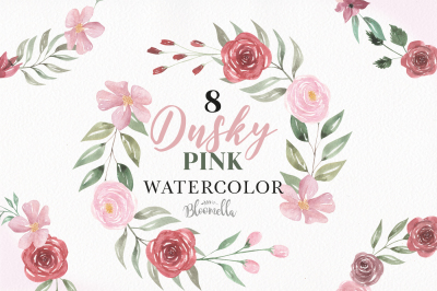 Dusky Pink Watercolor Florals Flowers Clipart Roses Wedding Package