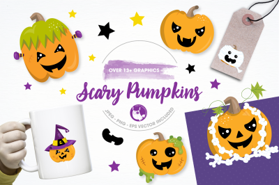 Scary pumpkin graphics and illustrations
