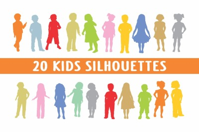 20 kids silhouettes