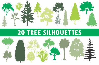 20 tree silhouettes collection