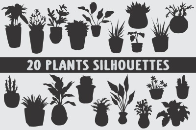 Set of home plants with silhouette style