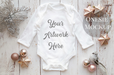 Long Sleeved Babygrow, All-In-One, onesie, infant bodysuit Mockup Phot