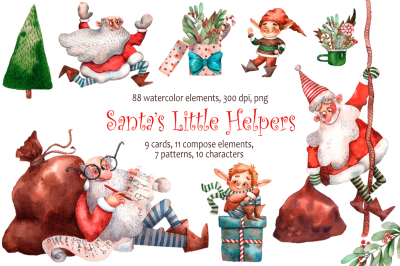 Santa's Little Helpers - Watercolor Clip Art Set