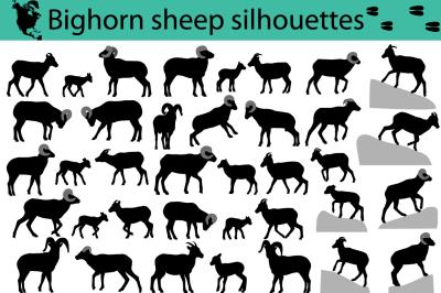 Bighorn sheep silhouettes