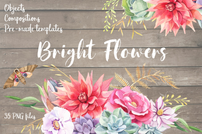 Bright Flowers- Watercolor Set